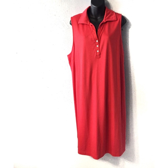 Lands End Plus Pink Pull Over Polo Dress